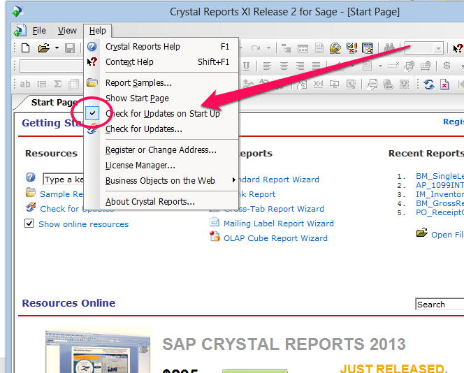 Slow Crystal Reports for Sage 100 ERP Startup: Solved