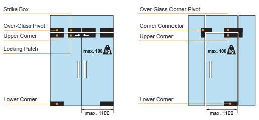 Stainless Steel Swing Door Fittings For Frameless Glass