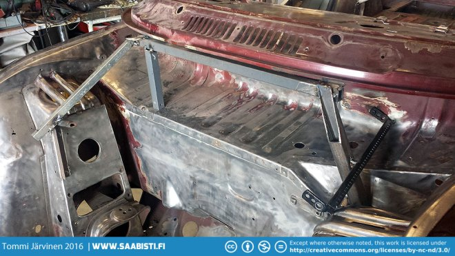 The windscreen frame bottom section was badly corroded and needed to be replaced. We made jig for it using the water holes as fixed points.