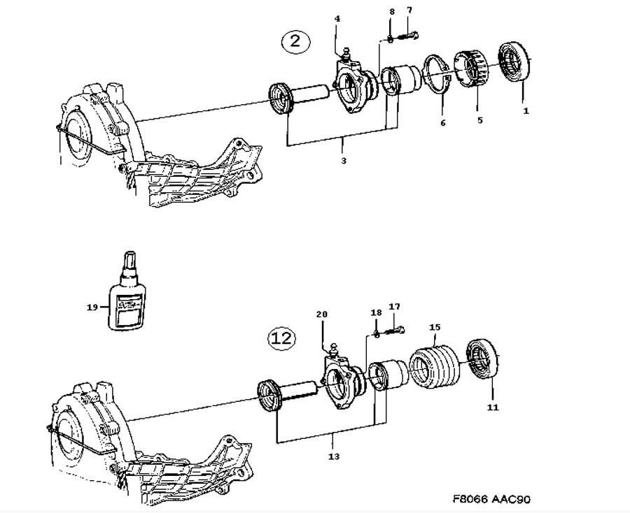 Gear box, manual, Release bearing, Slave cylinder Manual