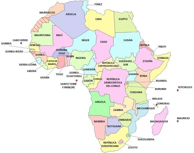 Mapas de los 5 continentes (países) Saber es práctico