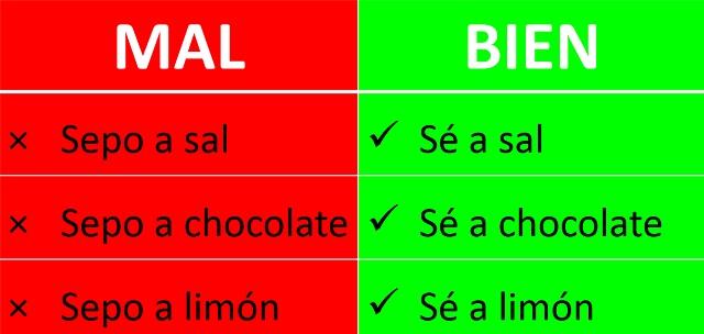 Conjugación de la 1ª persona del verbo saber (de sabor; de tener sabor a algo)