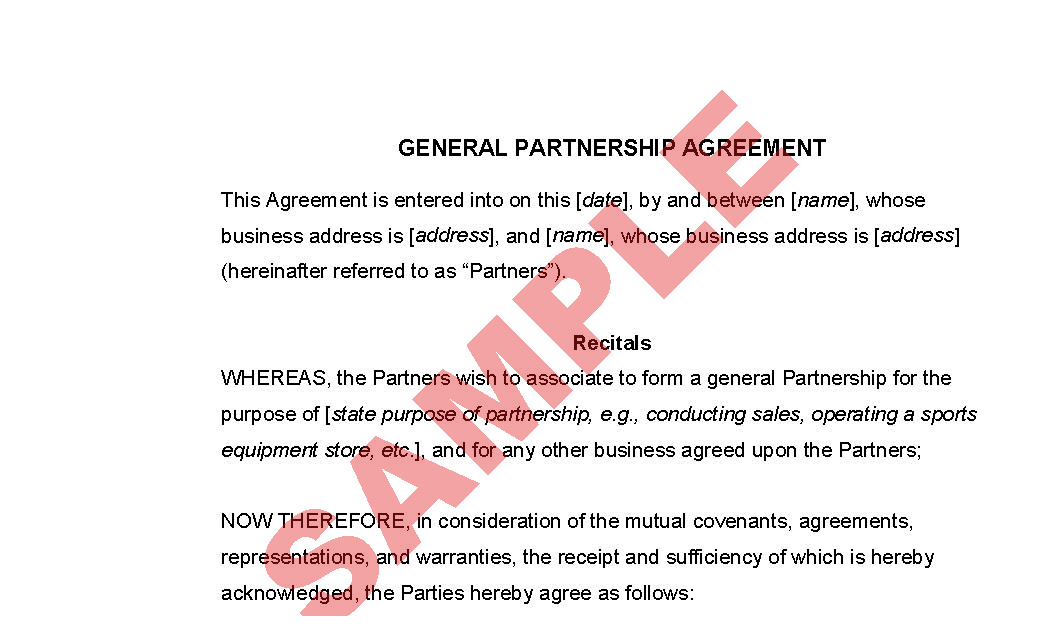 Sample Business Partnership Agreement Sample Business Partnership