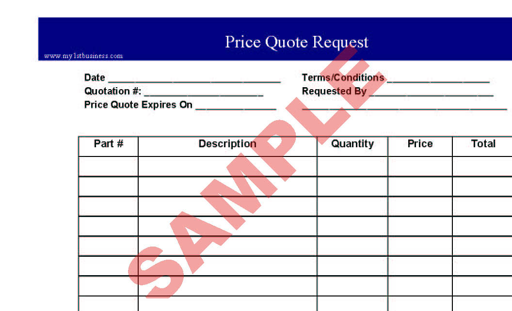 Price Quote Request - Business Forms - General Admin Forms - SA