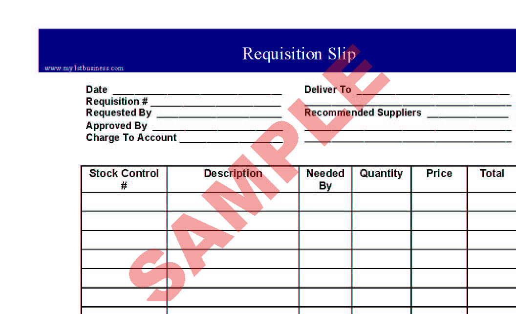 Requisition Slip - Business Forms - General Admin Forms - SA - sample requisition form