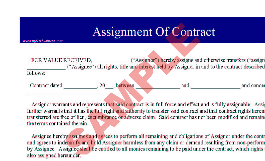 Assignment of Contract - Business Forms - Legal  Agreement Forms - assignment of contract
