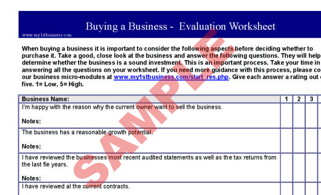 Buying a Business - Evaluation Worksheet - Business Forms - Start-up