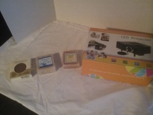 Handmade soaps and an LED presentation projector