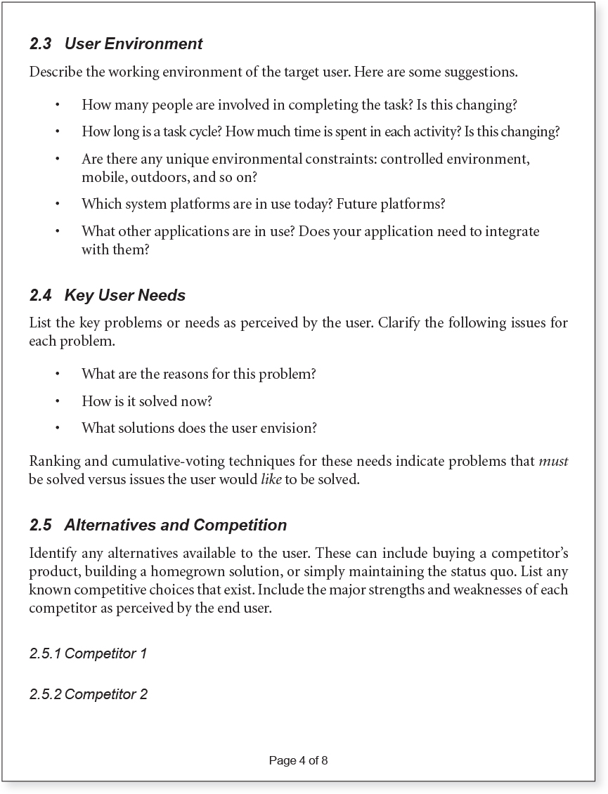 Appendix B Vision Document Template - Agile Software Requirements - end user documentation template