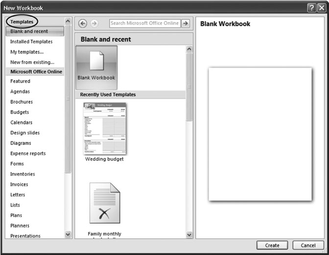 162 Creating a New Workbook from a Template - Excel 2007 The
