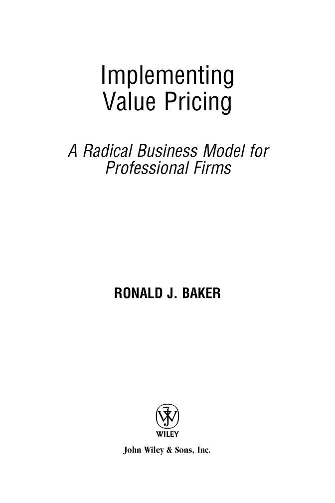 Title page - Implementing Value Pricing A Radical Business Model