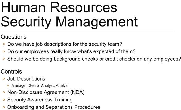 Chapter 6 Human Resources Security Management - Infosec Management - human resource management job description