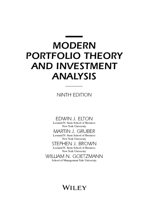 Title Page - Modern Portfolio Theory and Investment Analysis, 9th