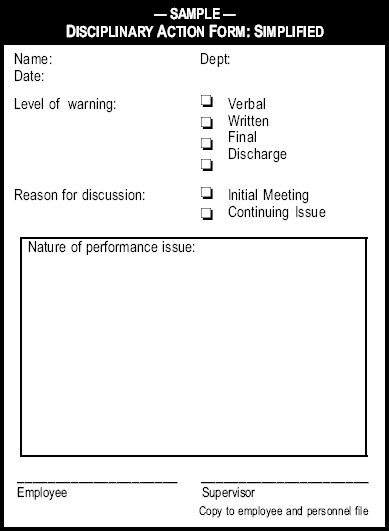 Sample Disciplinary Action Form Simplified - The Manager\u0027s Pocket