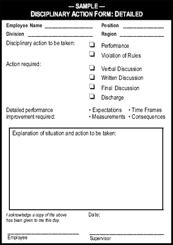 Sample Disciplinary Action Form Detailed - The Manager\u0027s Pocket