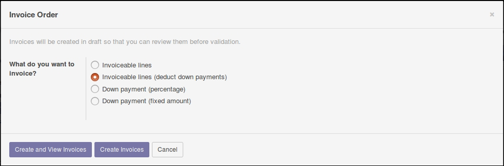 Invoicing the sale - Working with Odoo 10 - Second Edition Book - how to do an invoice for work