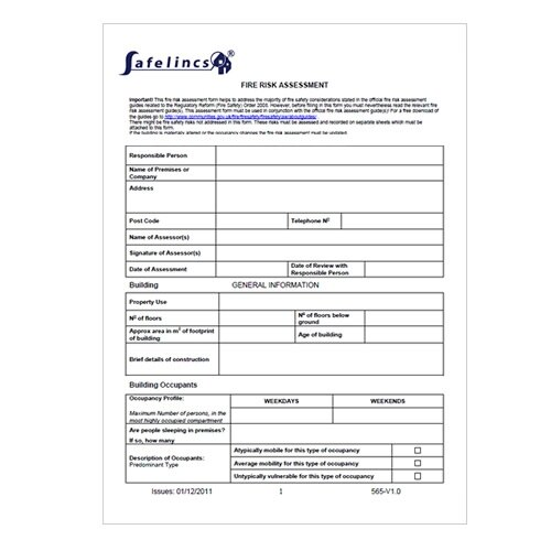 Fire Risk Assessment Form - Download Now! - product evaluation form