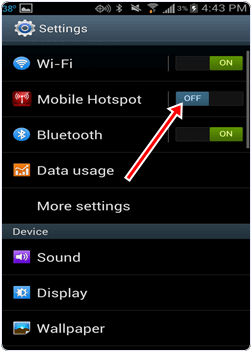 Turn off hotspot on android to save battery