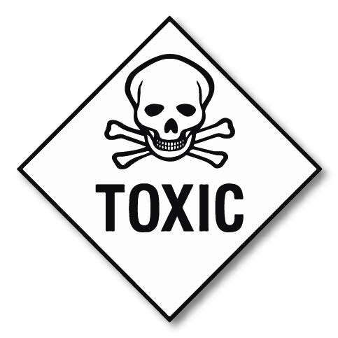 Toxic no number Hazard Labels 250mm