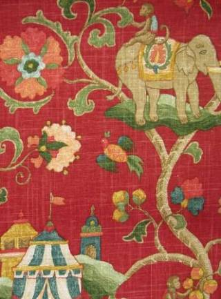 Elegant Elephant Print Fabrics Saffron Speak