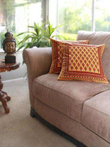 Indian Summer ~ Decorative Orange Paisley Throw Pillow Cover