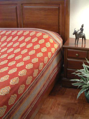 Spice Route~ Unique Red Orange Luxury Moroccan Queen Duvet Cover