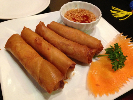 Eggrolls with a thin, crisp shell from Thai-Lao Orchid.