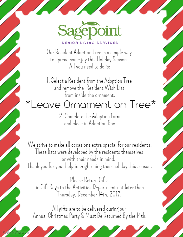 Resident Adoption Tree Now Up Sagepoint Senior Living Services