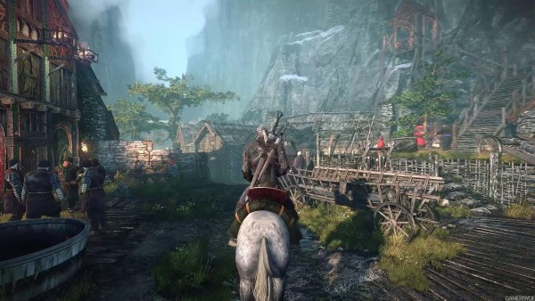 Geralt on a horse in the Witcher III: Wild Hunt.