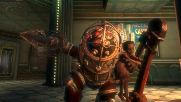 Fighting a Big Daddy in BioShock
