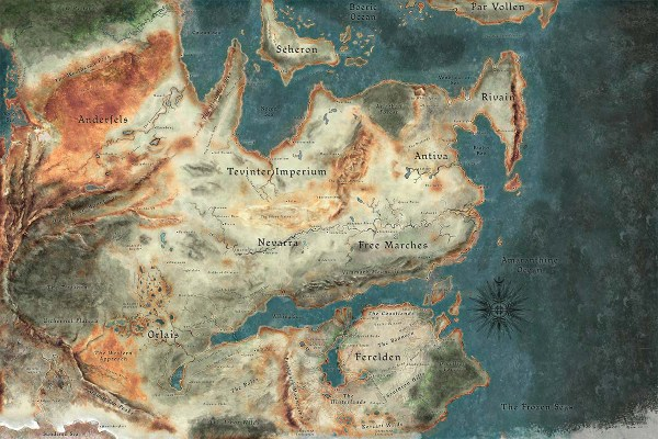 A map of the continent of Thedas.
