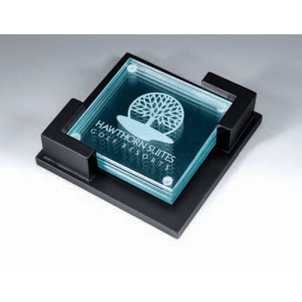 Laser-engraved glass coasters and a wooden holder make a gift that will last, giving employees an easy way to enjoy and share their special recognition.