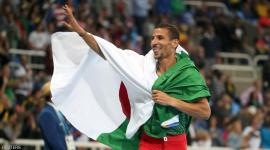 2016 Rio Olympics - Athletics - Final - Men's 800m Final - Olympic Stadium - Rio de Janeiro, Brazil - 15/08/2016. Taoufik Makhloufi (ALG) of Algeria celebrates winning the silver medal.   REUTERS/Sergio Moraes   FOR EDITORIAL USE ONLY. NOT FOR SALE FOR MARKETING OR ADVERTISING CAMPAIGNS.