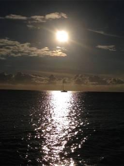 Blk Diamond anchored in the sun set.