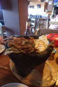Steaming Meat, Veggies, and grilled Queso (Mojacete)