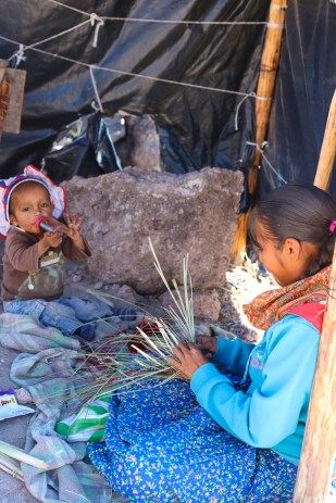 Rarámuri children at home in the canyon