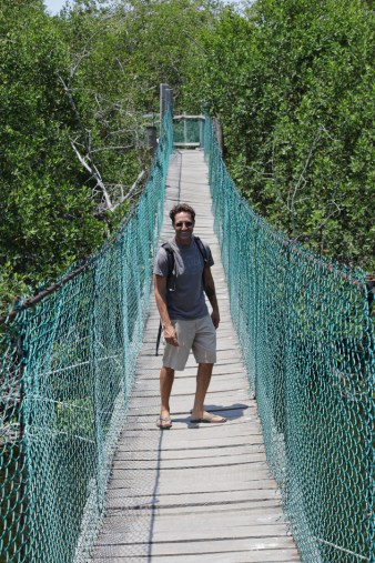 Jay braving the fragile bridge with crocs below.