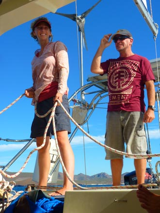 Rick and Suzi sailing aboard Wendy Ellen