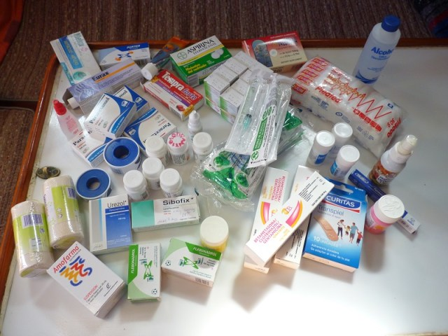 Self treatment can cure most things and is very economical. Our entire medical kit pictured here cost less than $50 and was available on prescription once we paid for a Doctor's consultation to help define our on board needs. The consultation cost $4