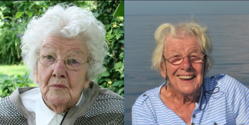 Na levi gospa Tilly pri 90-ih, ko je še živela na kopnem. Na desni leto dni kasneje, na jadrnici v Južnem Pacifiku