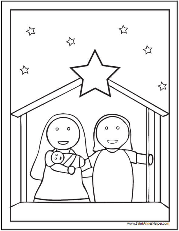 Christmas Coloring Pages For Kids Nativity Scene