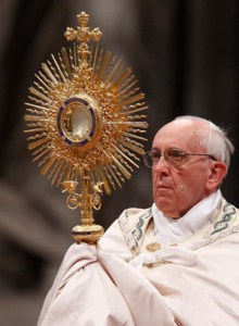 Pope Francis blessing the people after Eucharistic adoration