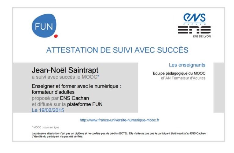 Attestation MOOC EFAN formateur d'Adultes