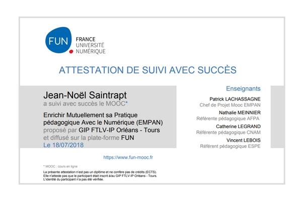 """Attestation du MOOC """"Enrichir Mutuellement sa Pratique pédagogique Avec le Numérique (EMPAN)"""""""