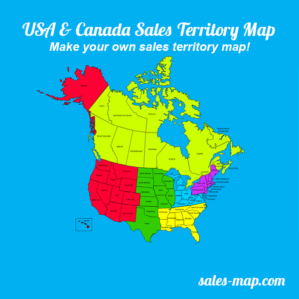 United States and Canada Sales Territory Map Editable Sales - editable united states maps