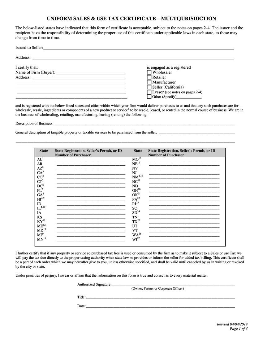 Printable Massachusetts Sales Tax Exemption Certificates