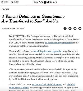 نيويورك تايمز:واشنطن سلّمت السعودية أربعةَ إرهابيين يمنيّين كانوا معتقلين في سجن غوانتانامو