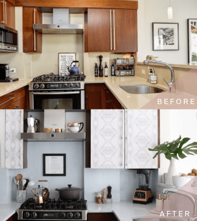 How to Transform Your Kitchen Cabinets with Wallpaper - Salt House