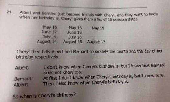 Cheryl's birthday problem