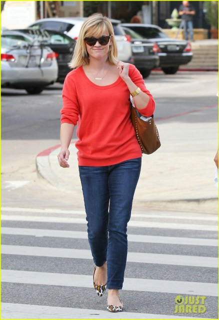 February 2014 - Simple red sweater, bar necklace, and jeans w/ leopard shoes